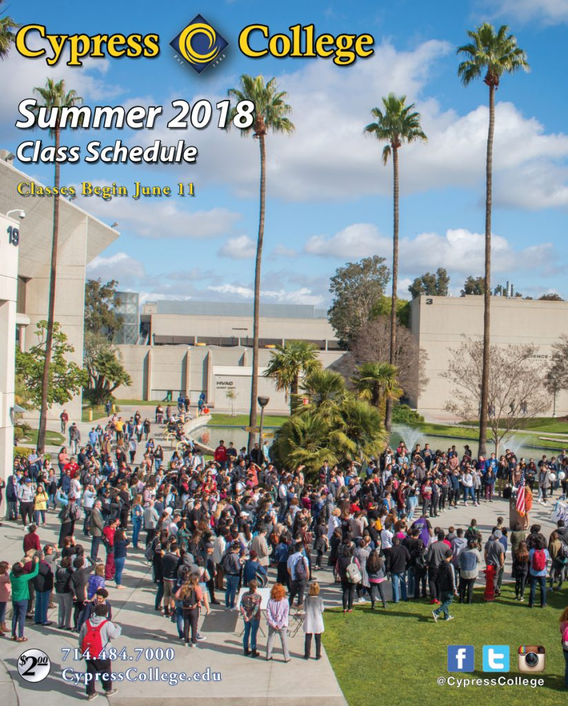 links to the summer 2018 Cypress College class schedule; opens in a new tab
