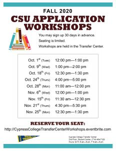 2019 CSU Application Workshops dates and times