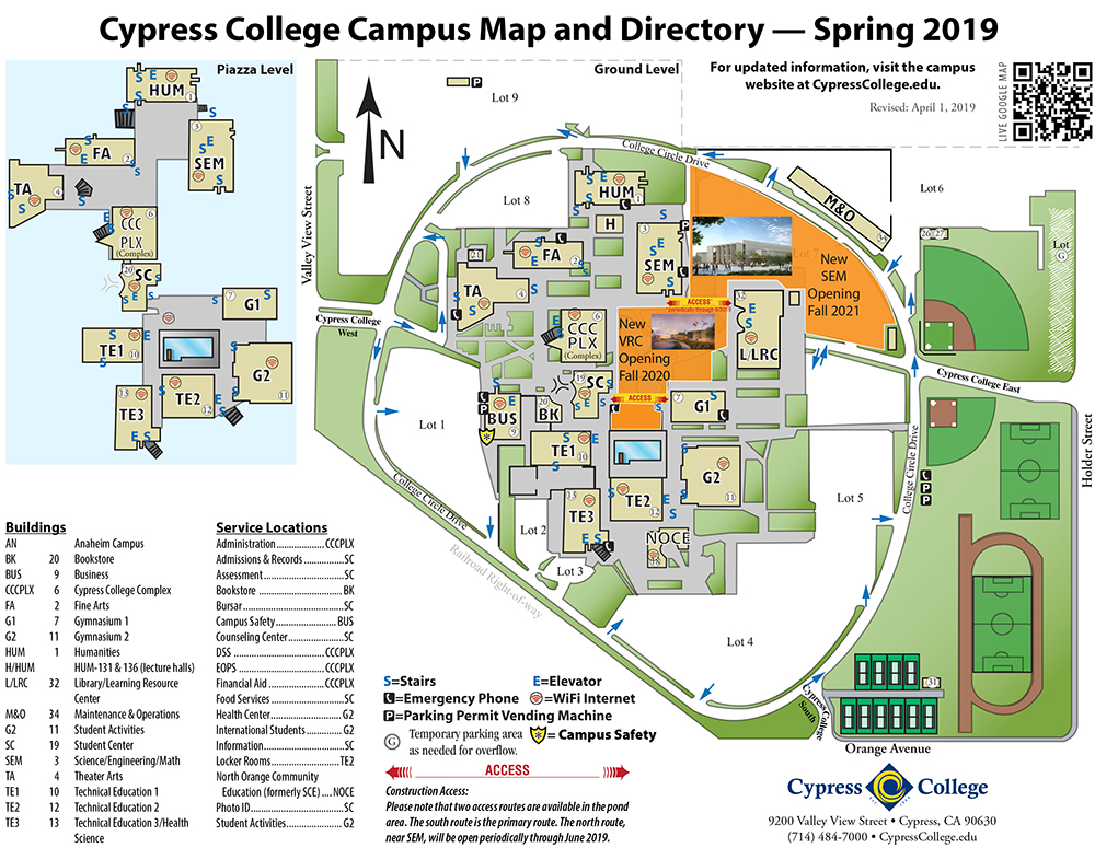 Cypress College Campus Map Campus Map & Directions – Cypress College