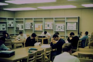 Students studying in a classroom