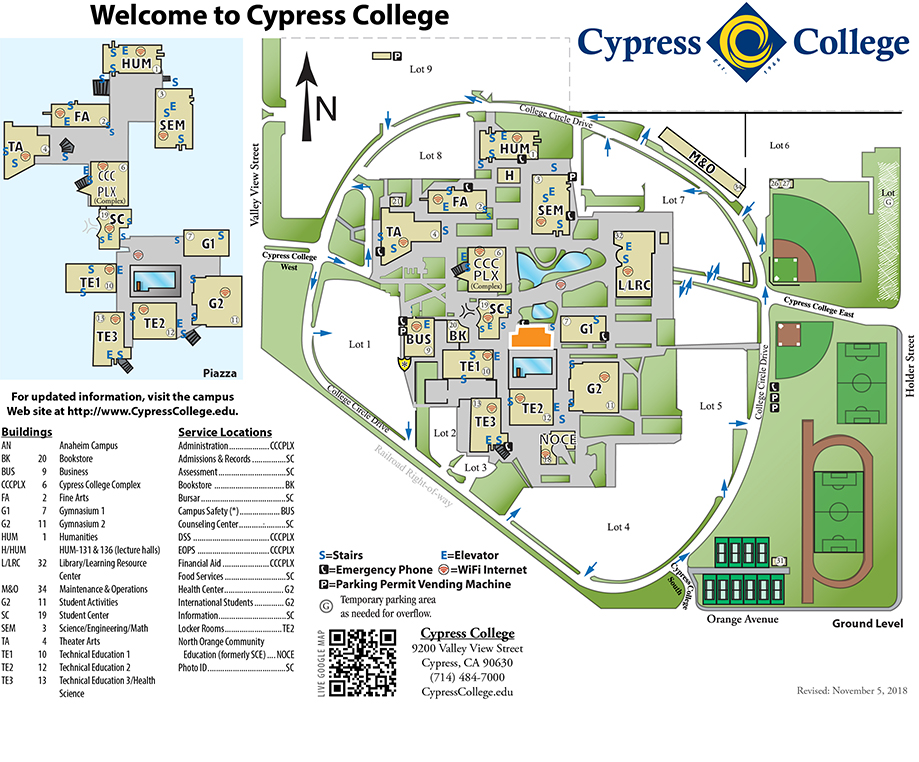 Campus Map Amp Directions Cypress College